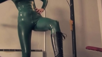Female domination tramples slave after whipping