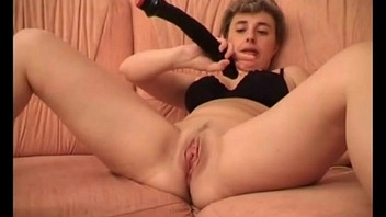 Short haired blonde wife fucking her pink pussy with huge black dildo