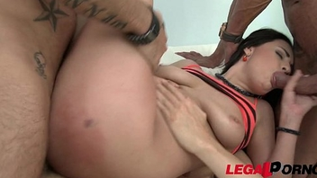 Chanel Lux 4on1 mini gangbang with DP &amp_ cum swallow
