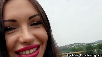 Beauty with huge lips banged in woods pov