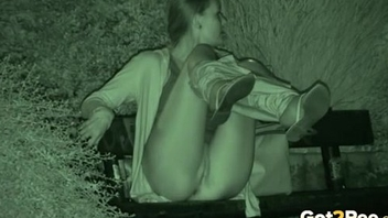 Amazing nightvision reinforcer with a gal urinating in a park - Mylu-1