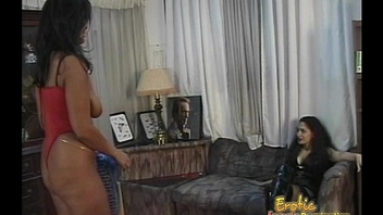 Two lusty ebony strumpets have some naughty tribade bedroom fun