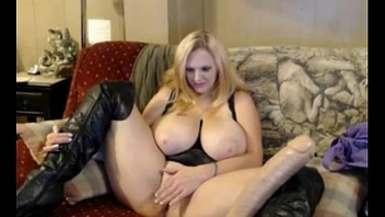 Blonde with giant boobs  puts inside their way pussy distinct kinds of dildos