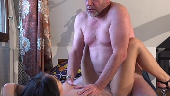 Aged business chap shafting his too horny hot young girlfriend