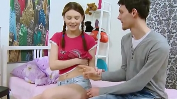 Boyfriend assists with hymen checkup and riding of virgin nympho