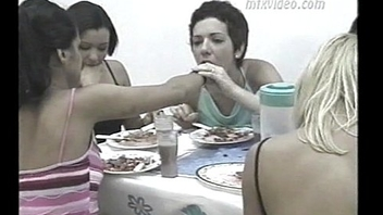 girls puking each other after lunch