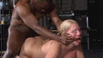 Ballpark interracial hardcore sex domination of busty Melanie Moon in pussy punishm